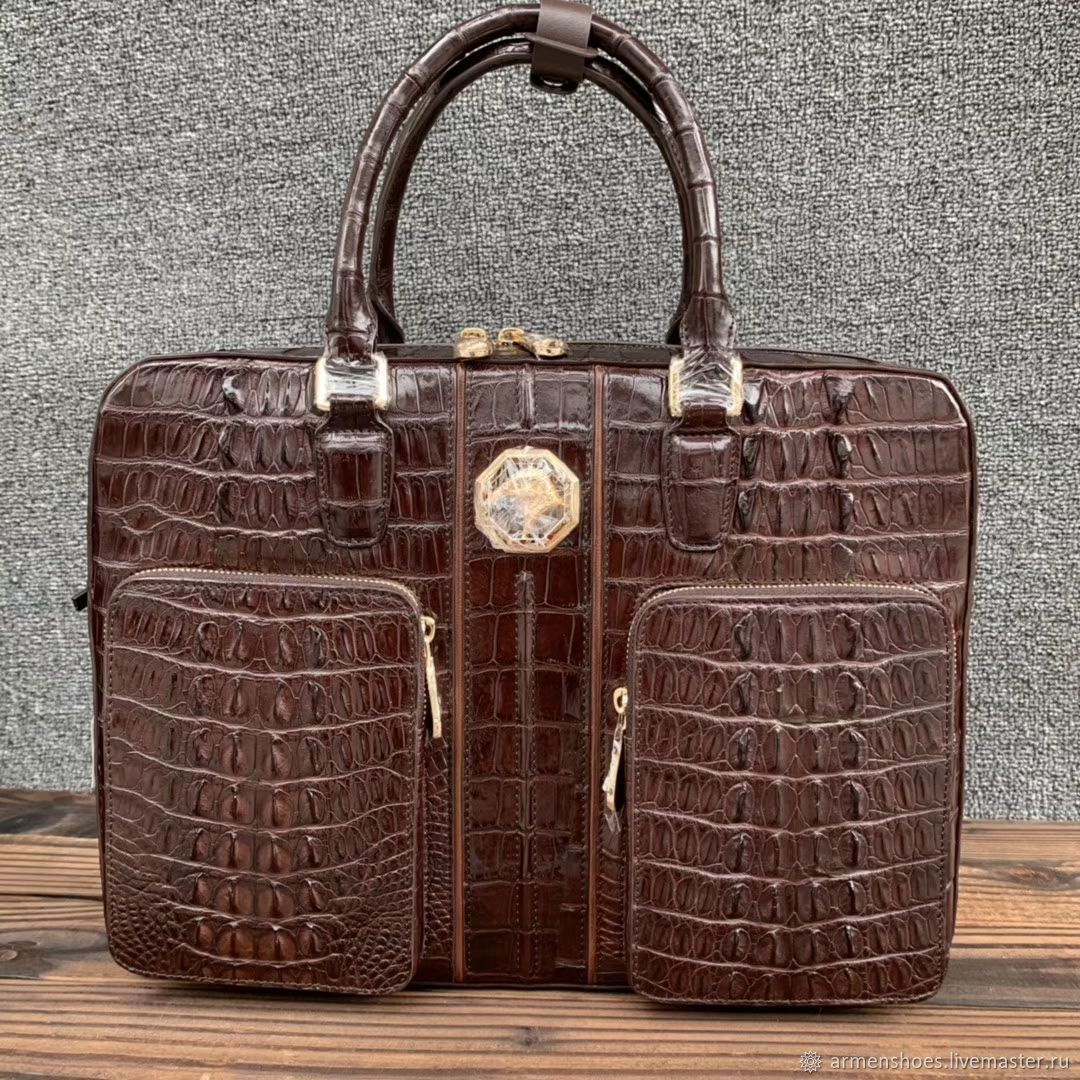 Men's briefcase bag made of embossed crocodile leather, Men\'s bag, Tosno,  Фото №1