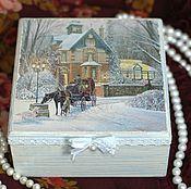 Для дома и интерьера handmade. Livemaster - original item Box Winter pine decoupage blue white. Handmade.