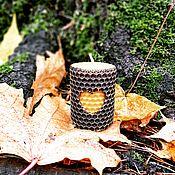 Свечи ручной работы. Ярмарка Мастеров - ручная работа Свеча из вощины золотистая с сердцем. Handmade.