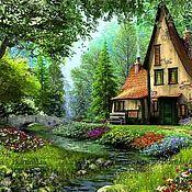 Картины ручной работы. Ярмарка Мастеров - ручная работа Картины: Картина по номерам Домик в лесу. Handmade.