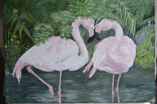 Животные ручной работы. Ярмарка Мастеров - ручная работа. Купить Фламинго. Handmade. Фламинго, розовый, природа, картина маслом в подарок