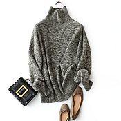 Одежда handmade. Livemaster - original item Thick knit melange sweater with a high collar. Handmade.