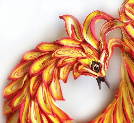 """Элементы интерьера ручной работы. Ярмарка Мастеров - ручная работа. Купить декор для стен """"Жарптица"""" (птица феникс - огонь, пламя). Handmade."""