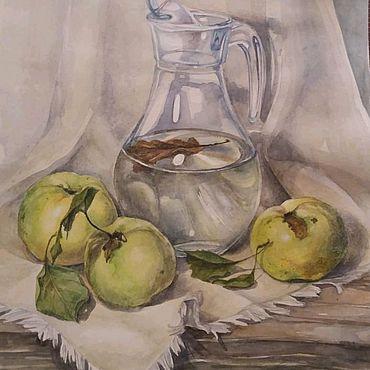 Картины и панно ручной работы. Ярмарка Мастеров - ручная работа Акварель осенние яблоки. Handmade.