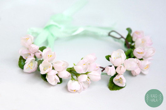 Диадемы, обручи ручной работы. Ярмарка Мастеров - ручная работа. Купить Свадебный веночек с цветущей яблоней. Handmade. Бледно-розовый