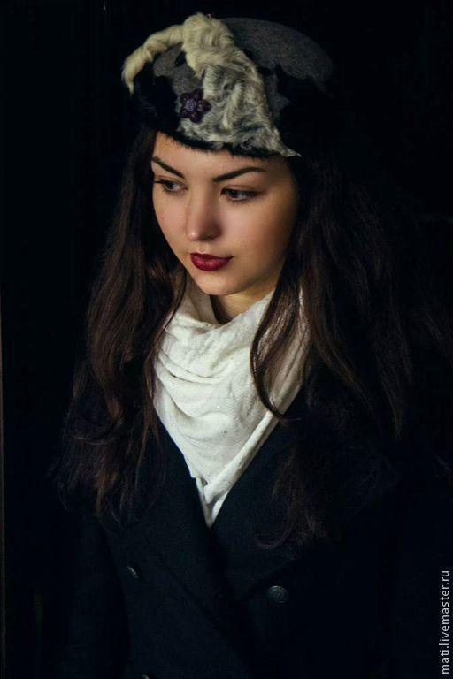 """Шапки ручной работы. Ярмарка Мастеров - ручная работа. Купить шляпка- беретик """"Зимний остров"""". Handmade. Серый, беретик, каракульча"""
