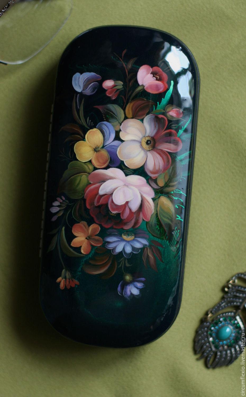 Футляр для очков с росписью жостово Цветы подарок