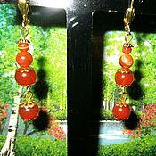 Украшения handmade. Livemaster - original item Beautiful Long earrings with carnelian natural orange beads. Handmade.