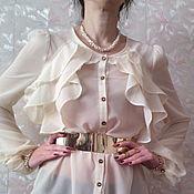 Одежда ручной работы. Ярмарка Мастеров - ручная работа блузка белая шифоновая Vouge -2. Handmade.