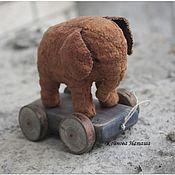 Куклы и игрушки ручной работы. Ярмарка Мастеров - ручная работа Слоник винтажный на тележке. Handmade.