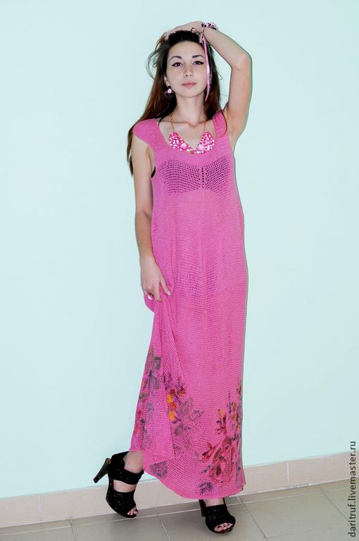 Платья ручной работы. Ярмарка Мастеров - ручная работа. Купить платье Розовые грёзы. Handmade. Коралловый, платье вязаное