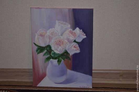 Картины цветов ручной работы. Ярмарка Мастеров - ручная работа. Купить Белые розы. Handmade. Белый, картина в подарок
