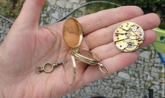 Винтажная одежда и аксессуары. Ярмарка Мастеров - ручная работа. Купить Золото 14к рабочие карманные часы с ключом Футляр. Handmade.