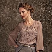 Одежда ручной работы. Ярмарка Мастеров - ручная работа Блузка из шелка и замши. Handmade.