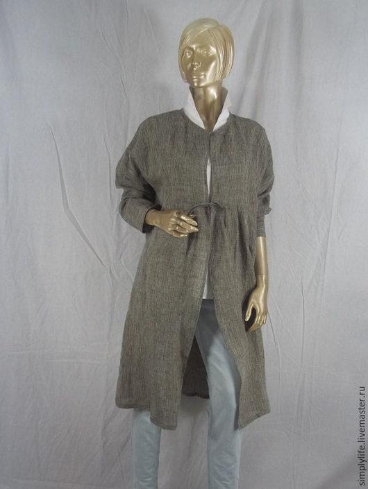 """Пиджаки, жакеты ручной работы. Ярмарка Мастеров - ручная работа. Купить Жакет """"Льняная классика"""". Handmade. Серый, удлиненный жакет"""