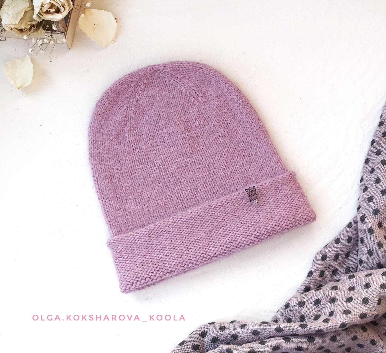 Вязаная женская шапка- бини с ангорой