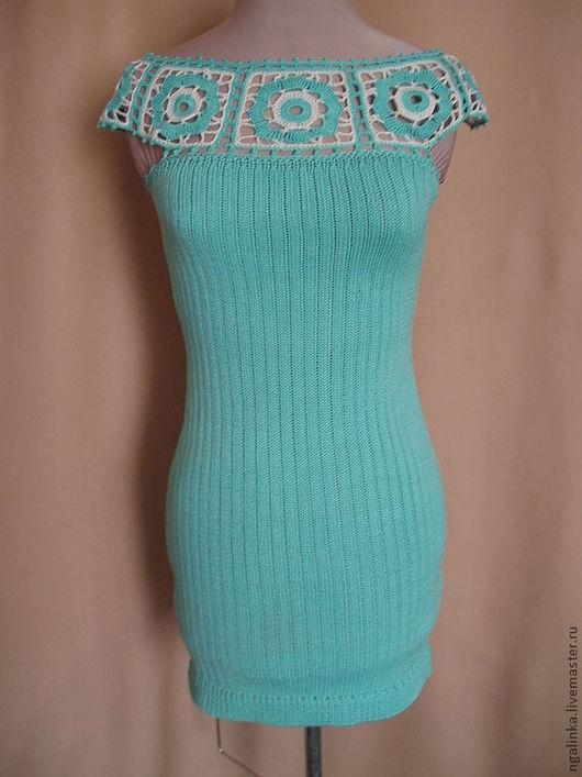 Платья ручной работы. Ярмарка Мастеров - ручная работа. Купить платье из хлопка Бирюза. Handmade. Бирюзовый, платье вязаное