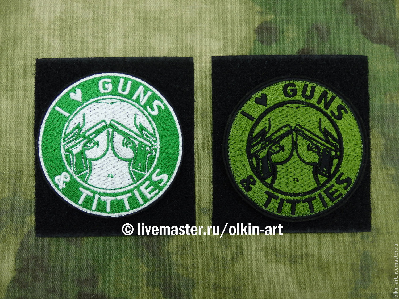 Stripe ` I LOVE GUNS AND TITTIES ` (white / field) Machine embroidery. beloretskiy stripe. patch. chevron. patch. embroidery. chevrons. patches. stripe. to purchase a patch.