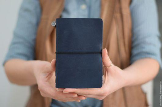 записная книжка из кожи, кожаная записная книжка, записные книжки на резинке, midori