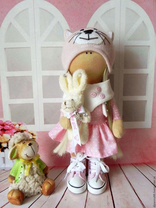 Куклы тыквоголовки ручной работы. Ярмарка Мастеров - ручная работа. Купить Интерьерная текстильная кукла Кэт(ЕДИНСТВЕННЫЙ ЭКЗЕМПЛЯР). Handmade. Розовый