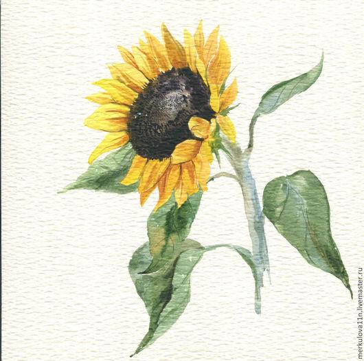 Картины цветов ручной работы. Ярмарка Мастеров - ручная работа. Купить Подсолнух. Handmade. Желтый, подсолнух, цветы, акварельная работа