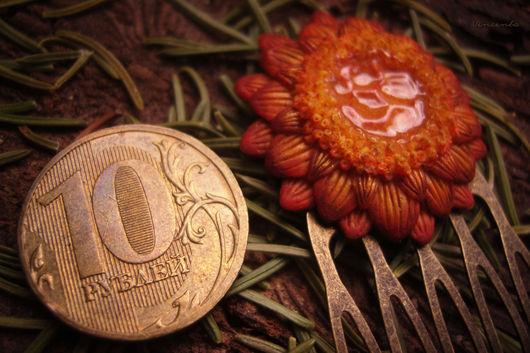 """Заколки ручной работы. Ярмарка Мастеров - ручная работа. Купить Гребень """"Цветок для медовой феи"""". Handmade. Гребень с цветами"""