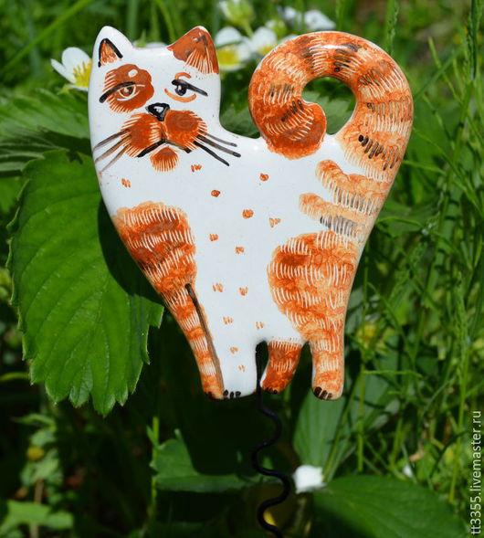 Экстерьер и дача ручной работы. Ярмарка Мастеров - ручная работа. Купить котик втыкалка в грядку или горшок. Handmade. Рыжий