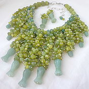 Украшения handmade. Livemaster - original item Massive Necklace and Earrings with a cascade of jade and aventurine beads.. Handmade.