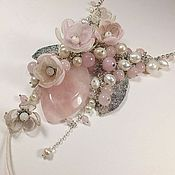 Украшения handmade. Livemaster - original item Pearl Pink Etude. choker, removable floral decor.. Handmade.