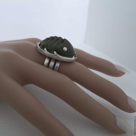 """Кольца ручной работы. Ярмарка Мастеров - ручная работа. Купить Кольцо из серебра 925 с резным камнем """"Трилобит"""".. Handmade."""