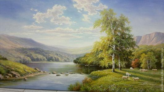"картина ""Летний пейзаж""\r\nкартина выполнена на холсте размером 180х90 масляными красками.\r\nможно заказать любой размер картины,\r\nручная работа - холст, масло."