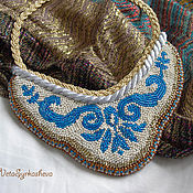Necklace handmade. Livemaster - original item Necklace: Beaded necklace with a blue pattern. Handmade.