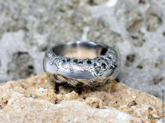 Кольца ручной работы. Ярмарка Мастеров - ручная работа. Купить Кольцо из серебра 925 пр. с текстурой из эмали и серебра 999 пр.. Handmade.