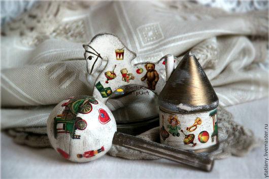 """Подарки для новорожденных, ручной работы. Ярмарка Мастеров - ручная работа. Купить Детский ретро набор """"Старенькие игрушки"""". Handmade. шкатулка"""