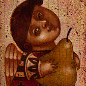 """Книги для рецептов ручной работы. Ярмарка Мастеров - ручная работа """"Ангел с грушей"""", авторская печать. Handmade."""