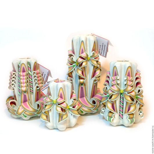 Свечи ручной работы. Ярмарка Мастеров - ручная работа. Купить Подарочный набор из четырех свечей. Handmade. Резные свечи