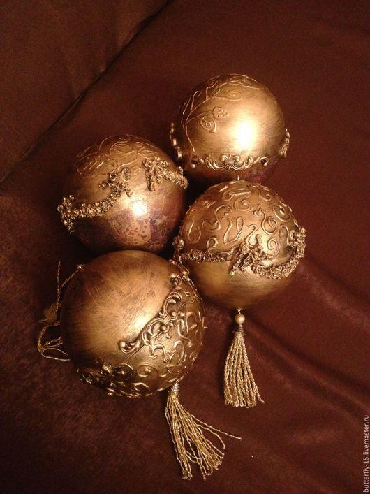 Новый год 2017 ручной работы. Ярмарка Мастеров - ручная работа. Купить Новогодний шар. Handmade. Золотой, новогодний шар