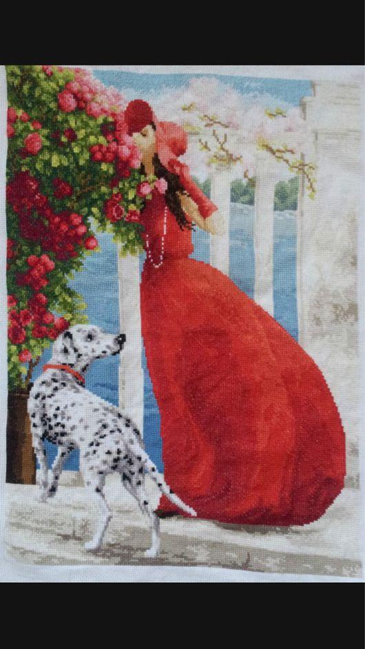 """Люди, ручной работы. Ярмарка Мастеров - ручная работа. Купить """"Аромат роз"""". Handmade. Женщина, собака, розы, канва Аида"""