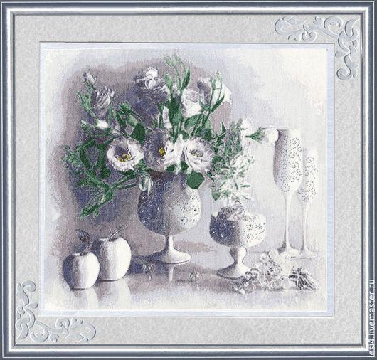 """Картины цветов ручной работы. Ярмарка Мастеров - ручная работа. Купить Вышитая картина """"Белый натюрморт"""". Handmade. Белый"""