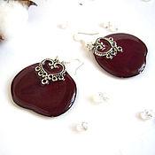 Украшения handmade. Livemaster - original item Earrings with real Burgundy Rose Petals Vintage resin Jewelry. Handmade.