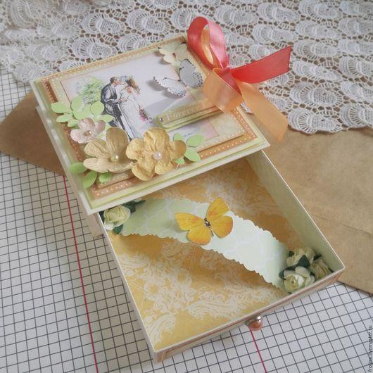 Свадебные открытки ручной работы. Ярмарка Мастеров - ручная работа. Купить Коробочка для денег на свадьбу. Handmade. Оранжевый, открытка