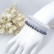 Украшения handmade. Livemaster - original item Braided bracelet:beads and pearls triple crystal wave.. Handmade.