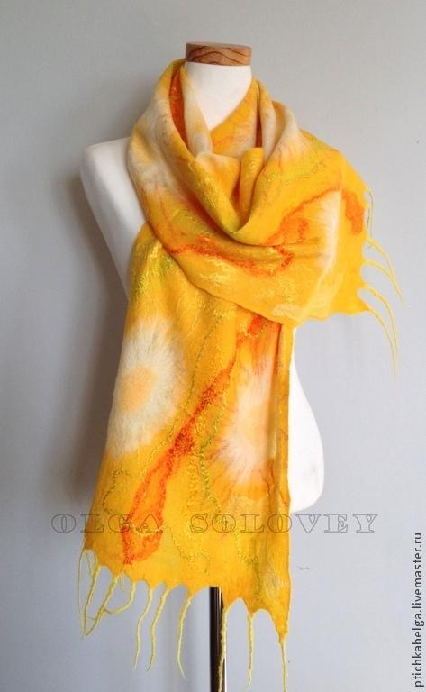 Шарфы и шарфики ручной работы. Ярмарка Мастеров - ручная работа. Купить шарф СОЛНЕЧНЫЕ ЦВЕТЫ. Handmade. Желтый, felted scarf