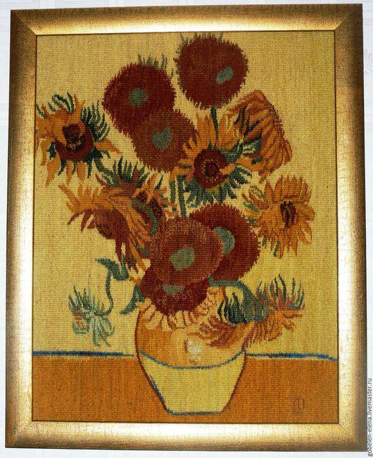 """Картины цветов ручной работы. Ярмарка Мастеров - ручная работа. Купить Гобелен """"Подсолнухи"""" копия картины В.Ван-Гога. Handmade."""