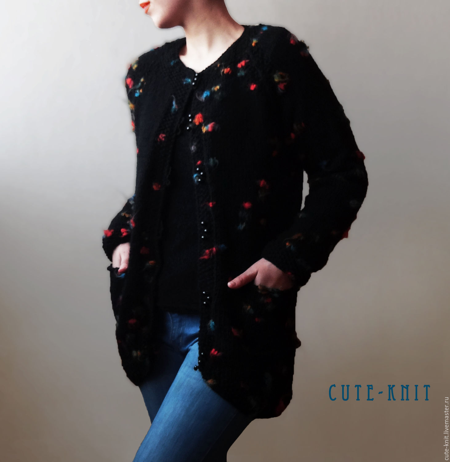 Knitted Asymmetrical Cardigan For Women Drops Of Paint Color Black