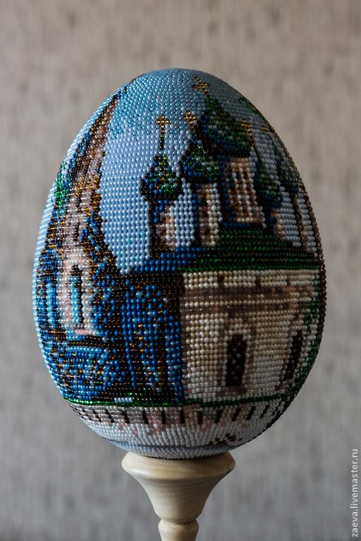 Яйца ручной работы. Ярмарка Мастеров - ручная работа. Купить Церковь Троице-Никольская. Handmade. Бисер, икона, яйцо икона
