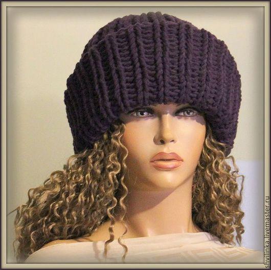 """Шапки ручной работы. Ярмарка Мастеров - ручная работа. Купить """"Альбина"""" шапка вязаная черника. Handmade. Однотонный, шапка женская"""