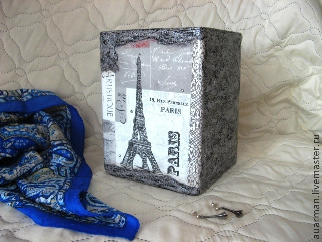 Ваза стеклянная квадратная декупаж Ночные звезды Парижа