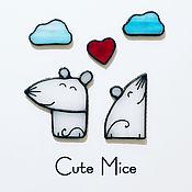 Магниты ручной работы. Ярмарка Мастеров - ручная работа Магниты на холодильник из стекла Милые Мышата Cute Mice Счастье #080. Handmade.