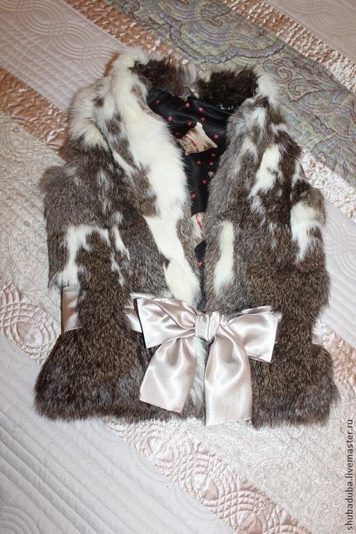 Жилеты ручной работы. Ярмарка Мастеров - ручная работа. Купить жилет из кролика детский. Handmade. Серый, коты и кошки, кожа